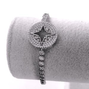 RESTOCK❣️Silver slider bracelet compass star cz